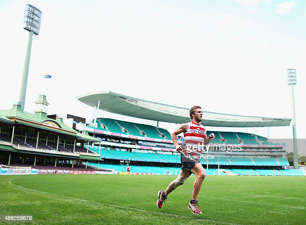 Kieren Jack of the Swans runs laps during a Sydney Swans AFL training session at Sydney Cricket Ground on September 15 2015 in Sydney Australia
