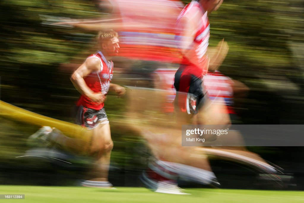 Kieren Jack runs during a Sydney Swans AFL training session at Lakeside Oval on March 5, 2013 in Sydney, Australia.