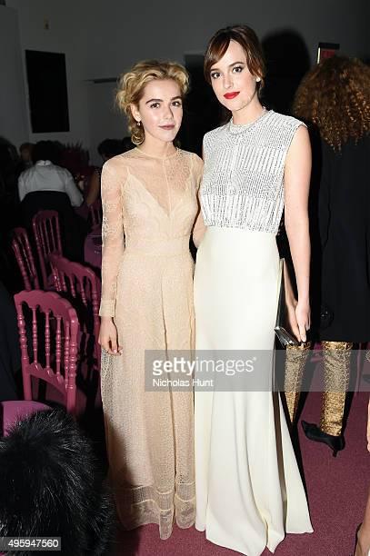 Kiernan Shipka and Dakota Johnson attend the 2015 Guggenheim International Gala Dinner made possible by Dior at Solomon R Guggenheim Museum on...
