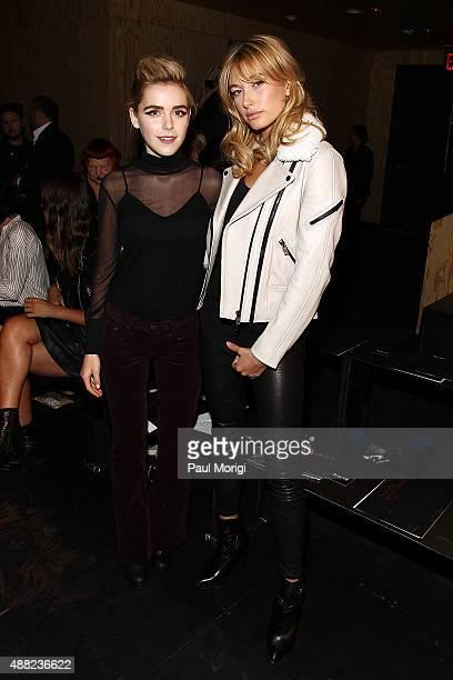 Kiernan Shipka and Hailey Baldwin attend the rag bone Spring 2016 fashion show during New York Fashion Week at St Ann's Warehouse on September 14...