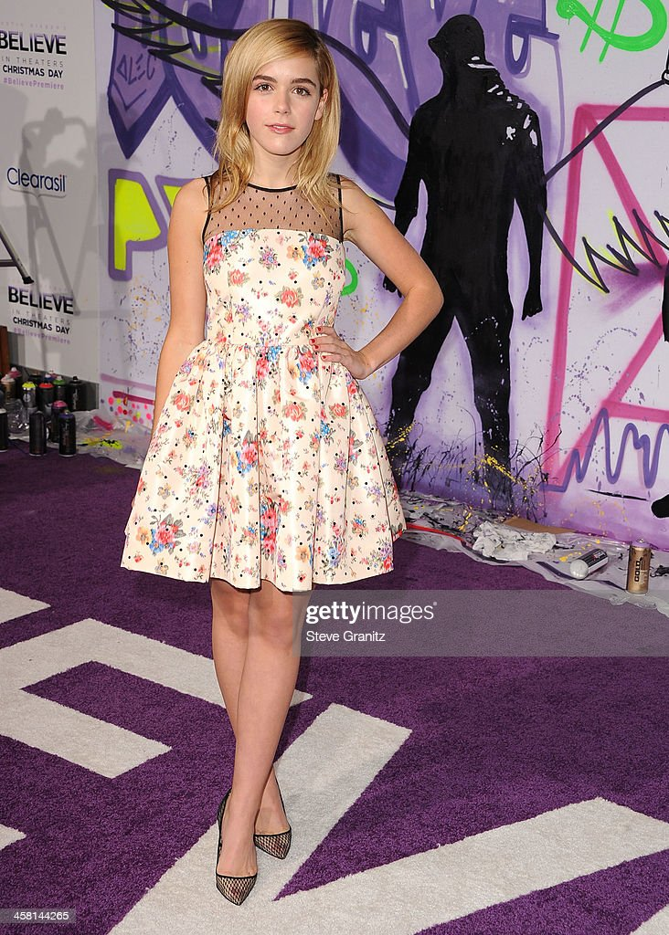 Kiernan Shipka arrives at the 'Justin Bieber's Believe' World Premiere at Regal Cinemas L.A. Live on December 18, 2013 in Los Angeles, California.