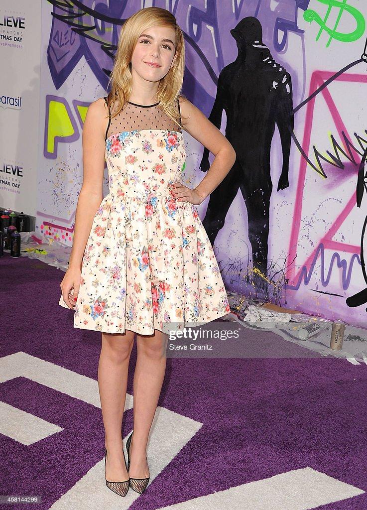 Kiernan Shipka arrives at the 'Justin Bieber's Believe' World Premiere at Regal Cinemas L.A. Live on December 18, 2013 in Los Angeles, California.