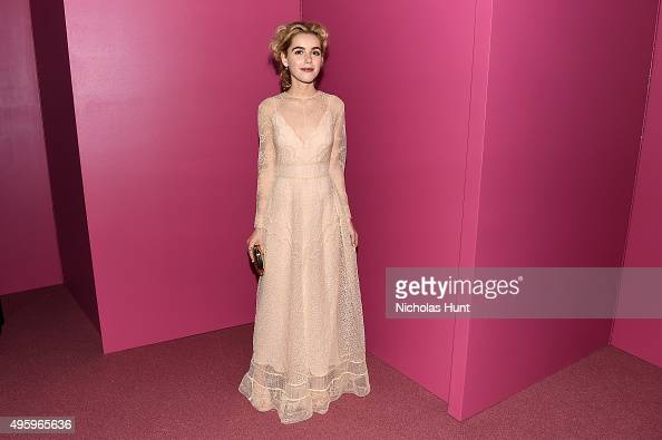 Kiernan Shipka attends the 2015 Guggenheim International Gala Dinner made possible by Dior at Solomon R Guggenheim Museum on November 5 2015 in New...