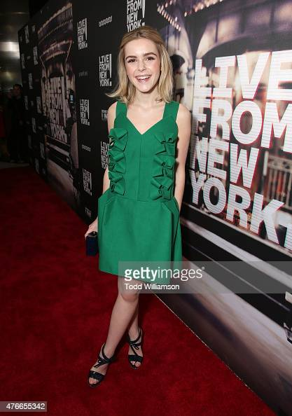 Kiernan Shipka attends the premiere Of Abramorama's 'Live From New York' Red Carpet at Landmark Theatre on June 10 2015 in Los Angeles California