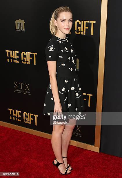 Kiernan Shipka attends the STX Entertainment's 'The Gift' Los Angeles premiere at Regal Cinemas LA Live on July 30 2015 in Los Angeles California