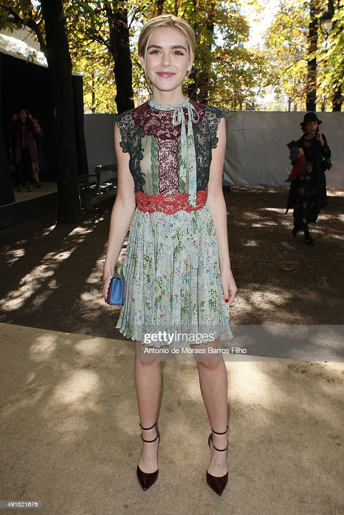 Kiernan Shipka attends the Valentino show as part of the Paris Fashion Week Womenswear Spring/Summer 2016 on October 6 2015 in Paris France