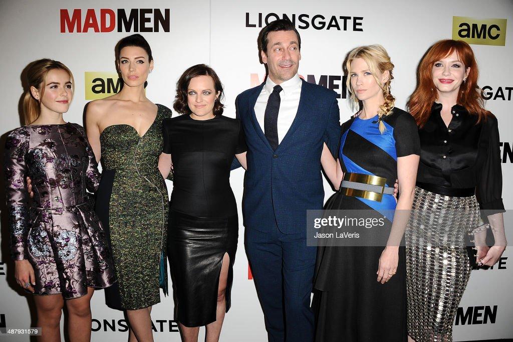 Kiernan Shipka Jessica Pare Elisabeth Moss Jon Hamm January Jones and Christina Hendricks attend the season 7 premiere of 'Mad Men' at ArcLight...
