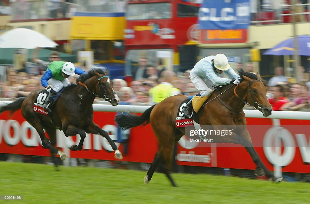 Kieron Fallon onboard North Light race to victory ahead of Percussionist ridden by Kevin Darley in the Vodafone Derby at the Epsom racecourse on June...
