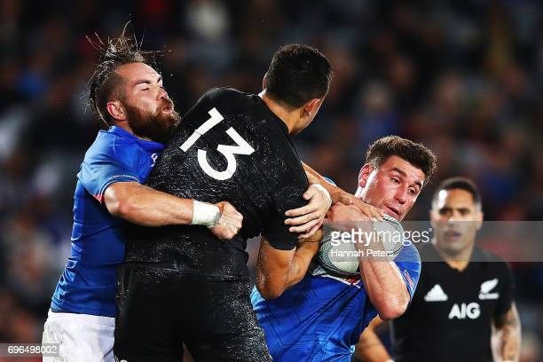 Kieron Fonotia of Samoa charges forward during the International Test match between the New Zealand All Blacks and Samoa at Eden Park on June 16 2017...