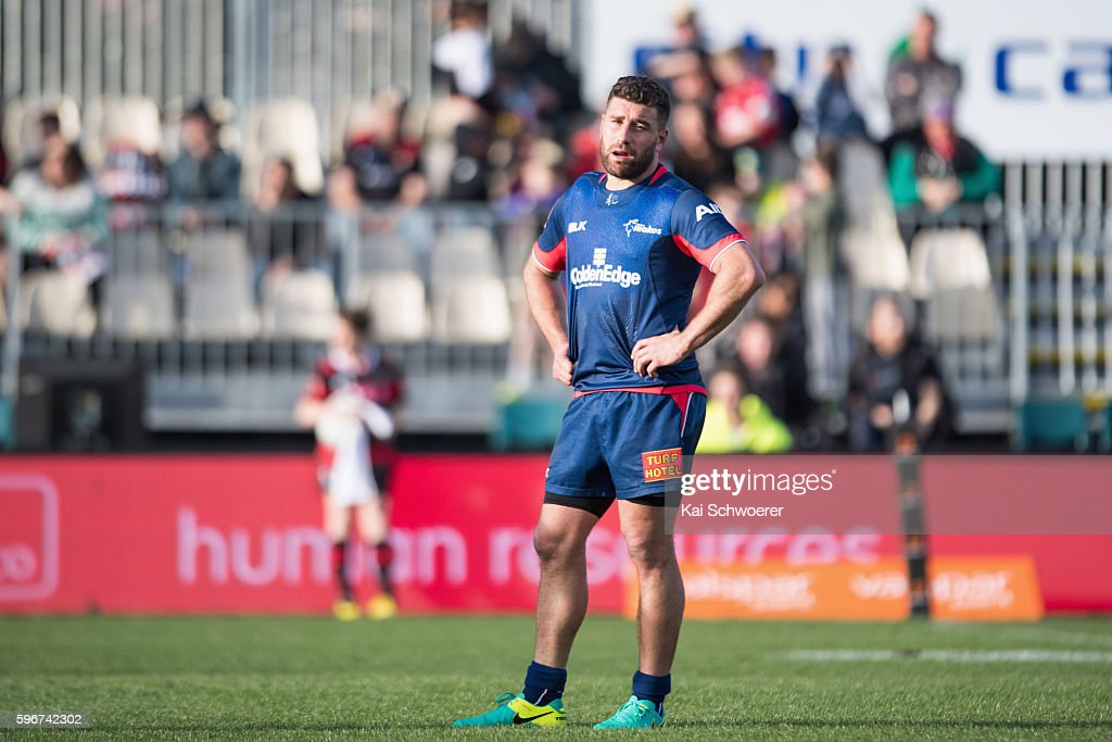 Kieron Fonotia of Tasman reacting during the round two Mitre 10 Cup match between Canterbury and Tasman at AMI Stadium on August 28 2016 in...