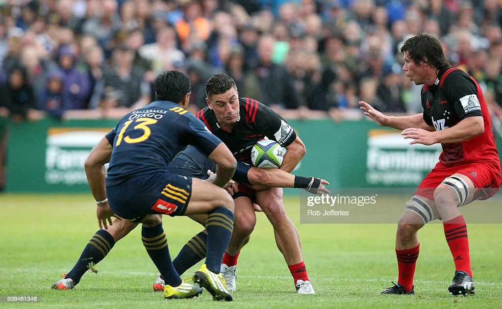 Kieron Fonotia of the Crusaders on the charge during the Super Rugby trial match between the Highlanders and the Crusaders at Fred Booth Park on February 11, 2016 in Waimumu, New Zealand.