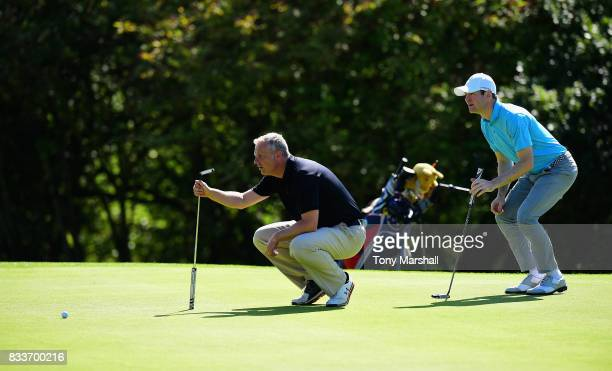 Kieron Fowler of Lyme Regis Golf Club and Henry Pallas of Upavon Golf Club line up a putt on the 15th green during the Golfbreakscom PGA Fourball...