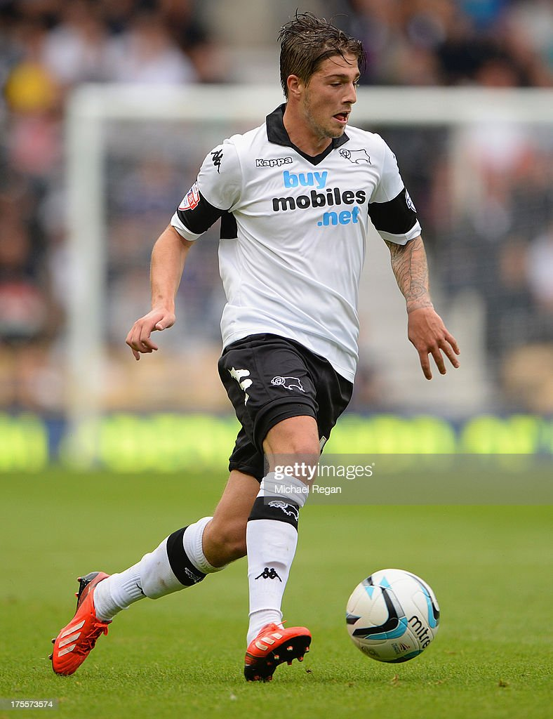 Kieron Freeman of Derby in action during the Sky Bet Championship match between Derby County and Blackburn Rovers at Pride Park Stadium on August 04, 2013 in Derby, England,
