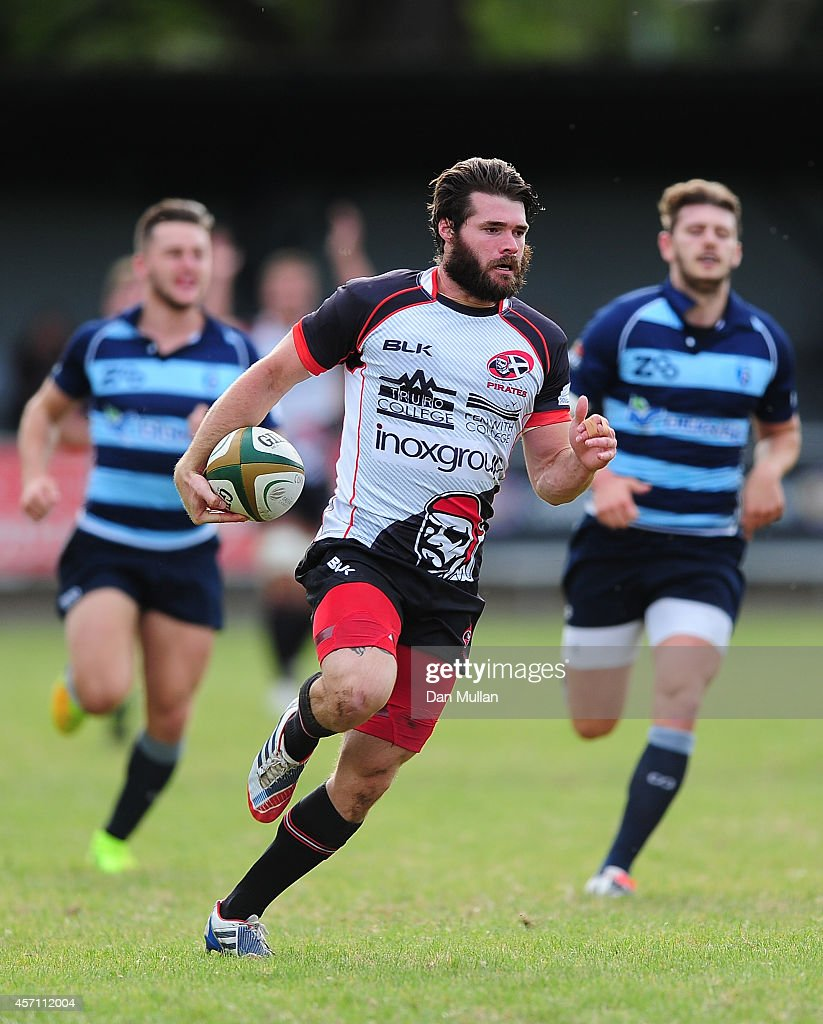 Kieron Goss of Cornish Pirates runs in to score his side's opening try during the British Irish Cup match between Cornish Pirates and Bedford Blues...