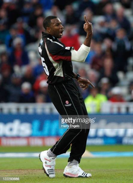 Kieron Pollard of Somerset celebrates taking the wicket of Abdul Razzaq of Leicestershire during the Friends Life T20 final between Somerset and...