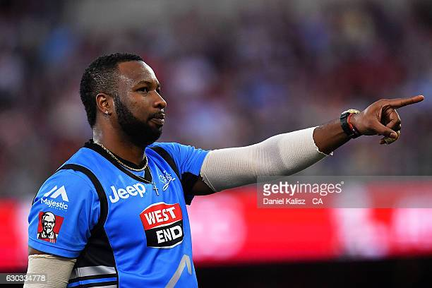 Kieron Pollard of the Adelaide Strikers reacts after taking a catch during the Big Bash League match between the Adelaide Strikers and Brisbane Heat...