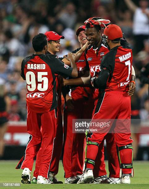 Kieron Pollard of the Redbacks celebrates with team mates after he caused the run out of Nathan Reardon of the Bulls during the Twenty20 Big Bash...