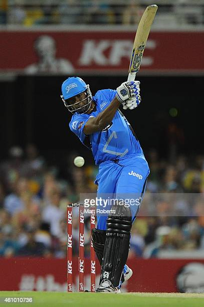 Kieron Pollard of the Strikers bats during the Big Bash league match between the Brisbane Heat and the Adelaide Strikers at The Gabba on January 4...