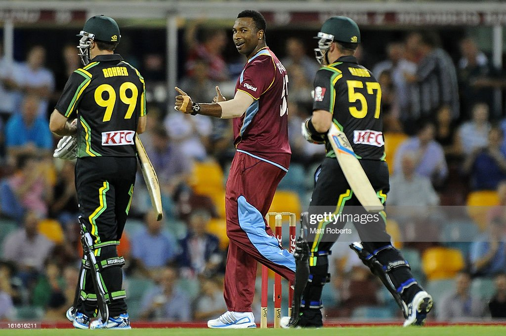 <a gi-track='captionPersonalityLinkClicked' href=/galleries/search?phrase=Kieron+Pollard&family=editorial&specificpeople=4233862 ng-click='$event.stopPropagation()'>Kieron Pollard</a> of the West Indies celebrates a wicket during the International Twenty20 match between Australia and the West Indies at The Gabba on February 13, 2013 in Brisbane, Australia.