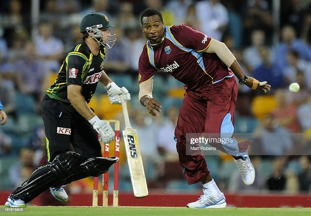 Kieron Pollard of the West Indies fields off his own bowling during the International Twenty20 match between Australia and the West Indies at The Gabba on February 13, 2013 in Brisbane, Australia.