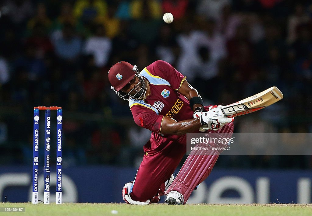 Kieron Pollard of the West Indies hits a four during the ICC World Twenty20 2012 Semi Final match between Australia and West Indies at R. Premadasa Stadium on October 5, 2012 in Colombo, Sri Lanka.