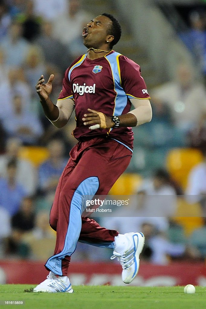 Kieron Pollard of the West Indies reacts during the International Twenty20 match between Australia and the West Indies at The Gabba on February 13, 2013 in Brisbane, Australia.