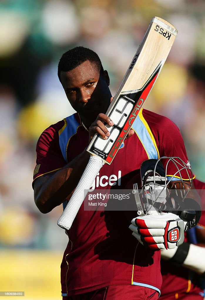 <a gi-track='captionPersonalityLinkClicked' href=/galleries/search?phrase=Kieron+Pollard&family=editorial&specificpeople=4233862 ng-click='$event.stopPropagation()'>Kieron Pollard</a> of West Indies acknowledges the crowd walking aff the field during game four of the Commonwealth Bank One Day International Series between Australia and the West Indies at Sydney Cricket Ground on February 8, 2013 in Sydney, Australia.