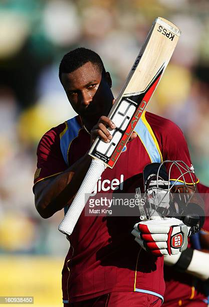 Kieron Pollard of West Indies acknowledges the crowd walking aff the field during game four of the Commonwealth Bank One Day International Series...