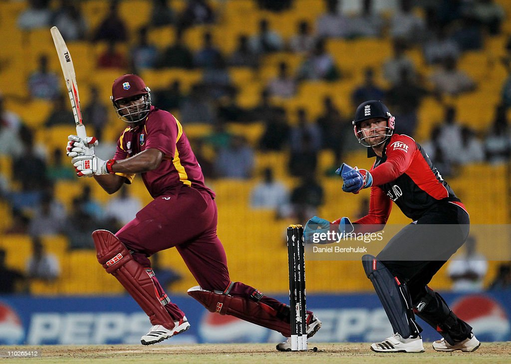<a gi-track='captionPersonalityLinkClicked' href=/galleries/search?phrase=Kieron+Pollard&family=editorial&specificpeople=4233862 ng-click='$event.stopPropagation()'>Kieron Pollard</a> of West Indies bats as <a gi-track='captionPersonalityLinkClicked' href=/galleries/search?phrase=Matt+Prior+-+Cricket+Player&family=editorial&specificpeople=13652111 ng-click='$event.stopPropagation()'>Matt Prior</a> of England keeps wicket during the Group B ICC World Cup match between England and West Indies at M. A. Chidambaram Stadium on March 17, 2011 in Chennai, India.