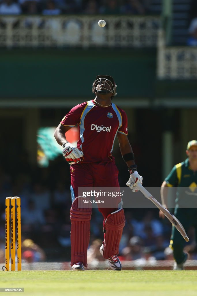 <a gi-track='captionPersonalityLinkClicked' href=/galleries/search?phrase=Kieron+Pollard&family=editorial&specificpeople=4233862 ng-click='$event.stopPropagation()'>Kieron Pollard</a> of West Indies bats during game four of the Commonwealth Bank One Day International Series between Australia and the West Indies at Sydney Cricket Ground on February 8, 2013 in Sydney, Australia.