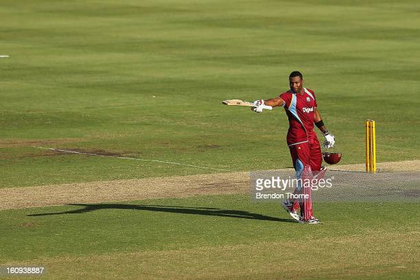 Kieron Pollard of West Indies celebrates scoring his century during game four of the Commonwealth Bank One Day International Series between Australia...