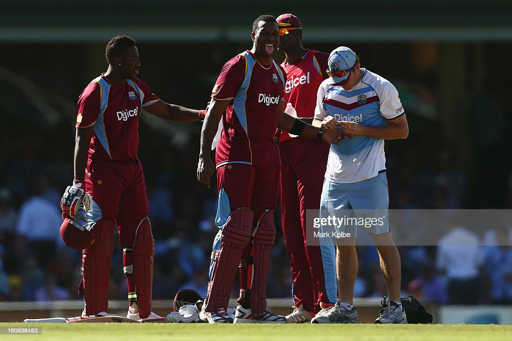 Kieron Pollard of West Indies receives attention for an injured thumb after being struck while batting during game four of the Commonwealth Bank One Day International Series between Australia and the West Indies at Sydney Cricket Ground on February 8, 2013 in Sydney, Australia.