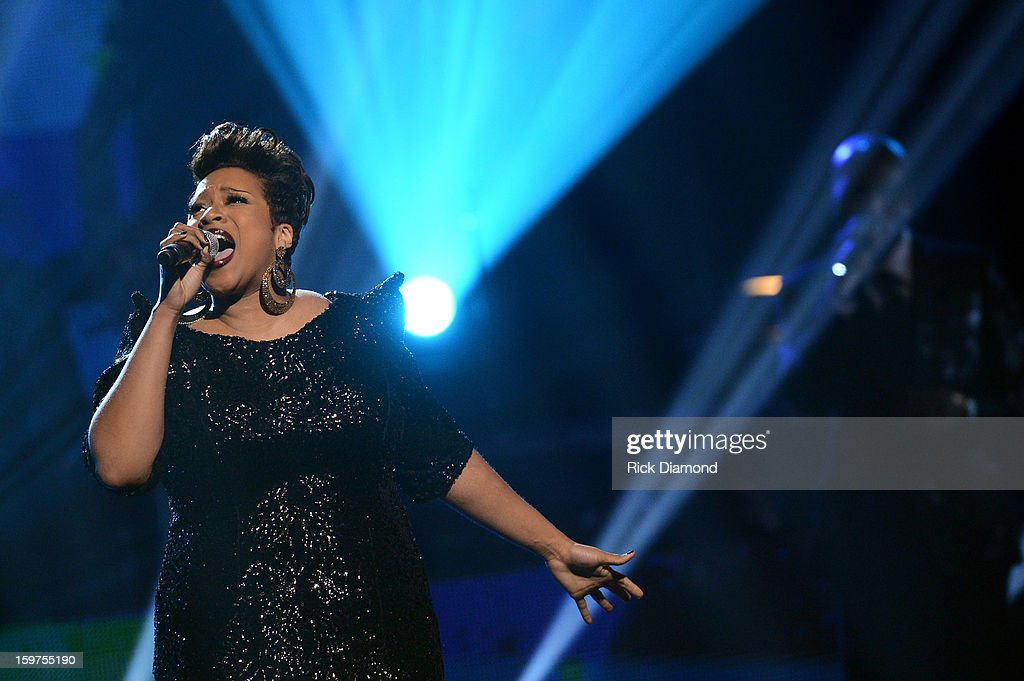 Kierra Sheard performs on the 28th Annual Stellar Awards Show at Grand Ole Opry House on January 19, 2013 in Nashville, Tennessee.