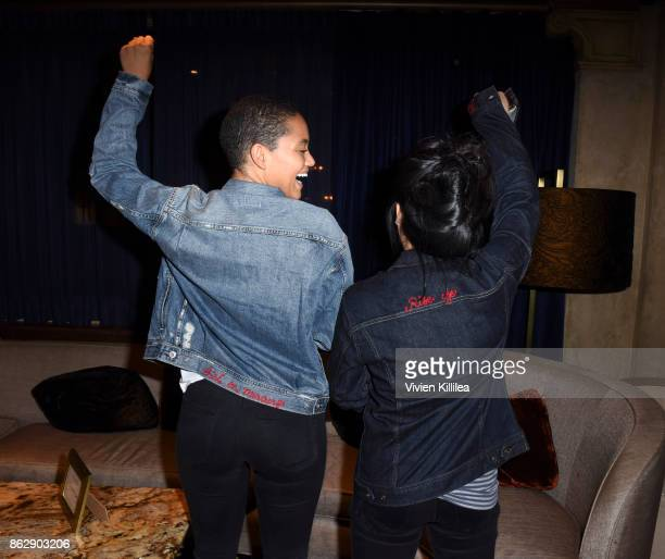 Kiersey Clemons and Kelly Marie Tran attend The ELLE Super Bowl Presented by AG on October 13 2017 in Los Angeles California