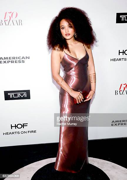 Kiersey Clemons attends Harper's BAZAAR celebration of the 150 Most Fashionable Women presented by TUMI in partnership with American Express La Perla...