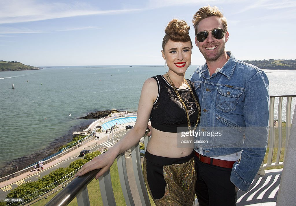 Kiesza and Ricky Wilson pose on top of Smeaton's Tower ahead of MTV Crashes Plymouth at Plymouth Hoe on July 15, 2014 in Plymouth, England.