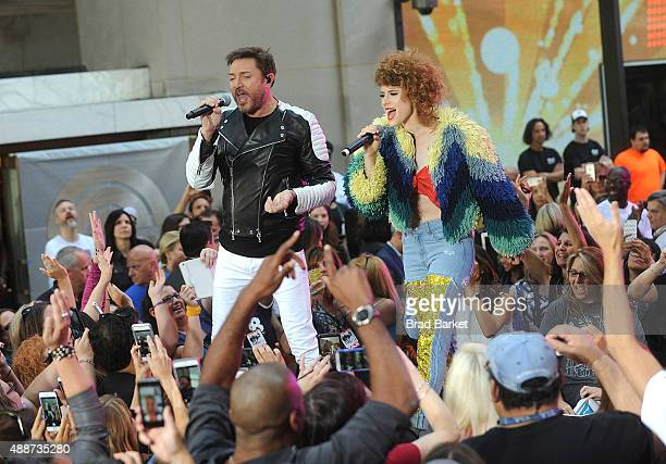 Kiesza and Simon Le Bon of Duran Duran perfom on stage duing Duran Duran performs on NBC's 'Today' at Rockefeller Plaza on September 17 2015 in New...