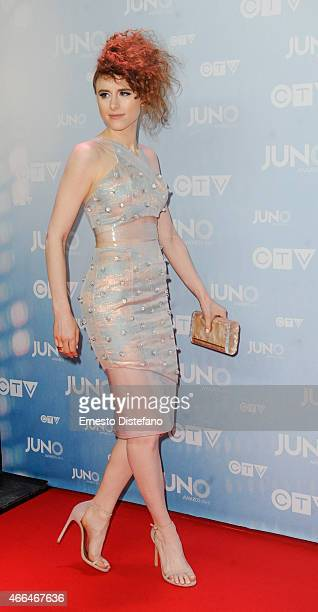 Kiesza arrives at the 2015 Juno Awards at FirstOntario Centre on March 15 2015 in Hamilton Canada