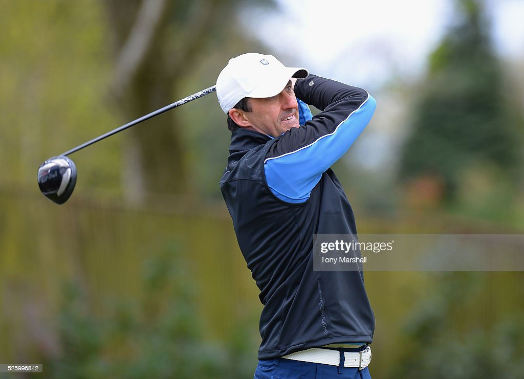 Kieth Preece of Burghill Valley Golf Club plays his first shot on the 1st tee during the PGA Professional Championship - Midland Qualifier at Little Aston Golf Club on April 29, 2016 in Sutton Coldfield, England.