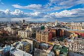 Cityscape Kiev city day view, panorama Kiev, Ukraine