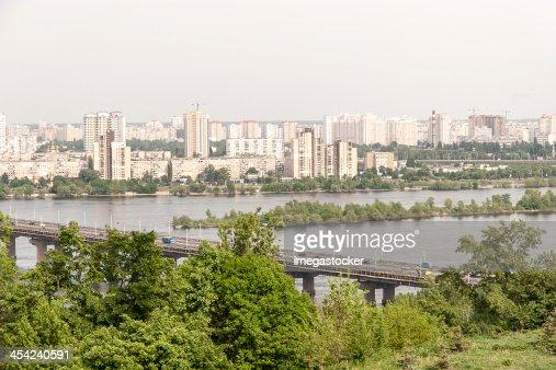 Kiev cityscape and Dnieper river, Ukraine : Stock Photo