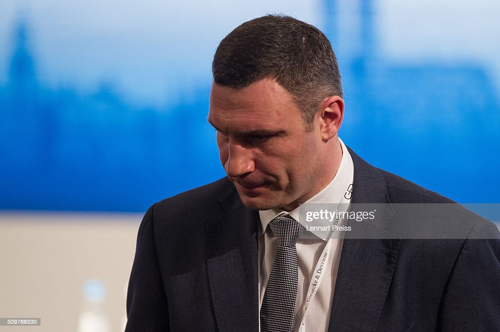 Kiev Mayor Vitali Klitschko arrives for the 2016 Munich Security Conference at the Bayerischer Hof hotel on February 12, 2016 in Munich, Germany. The annual event brings together government representatives and security experts from across the globe and this year the conflict in Syria will be the main issue under discussion.