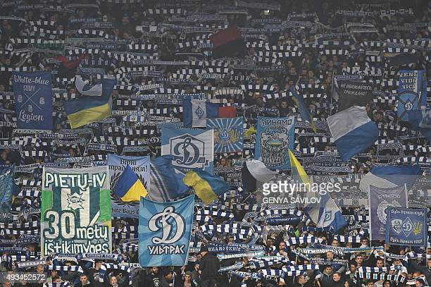 Kiev supporters cheer their team during the UEFA Champions League football match Dynamo Kiev vs Chelsea on October 20 2015 at the Olympic stadium in...