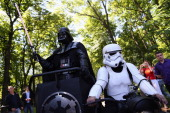 Kiev's mayoral candidate for the Internet Party 'Darth Vader' arrives to speak to the media on Volodymyrska Hill on May 22 2014 in Kiev Ukraine...
