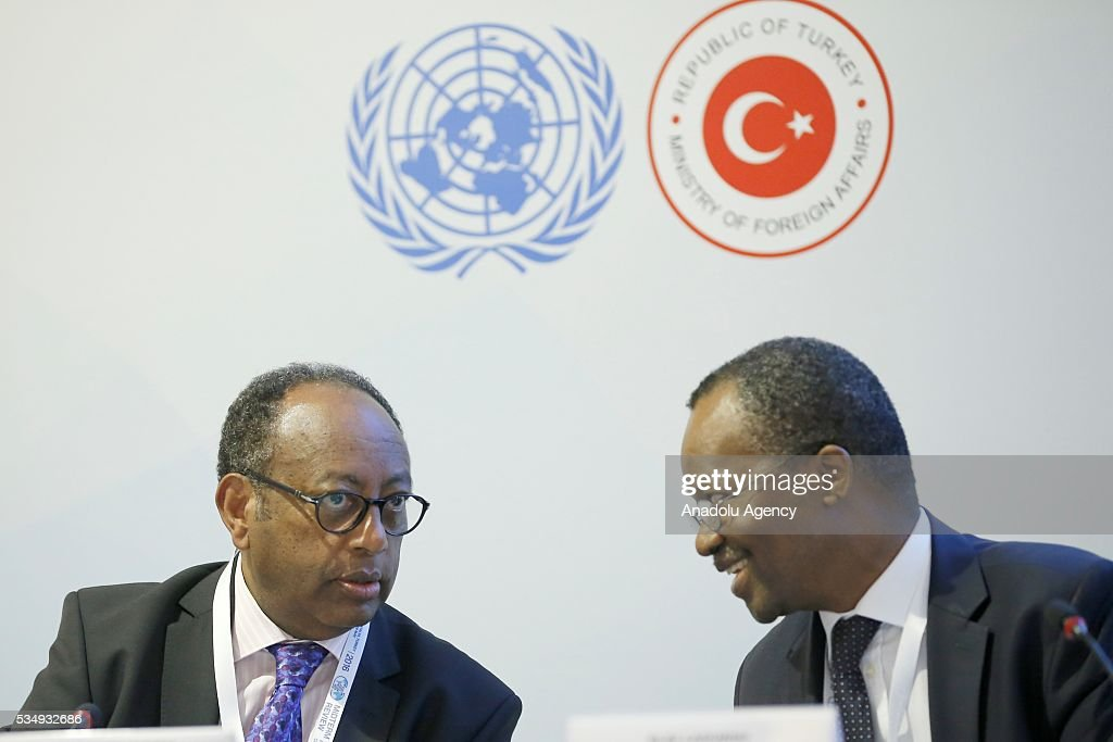 Kifle Shenkoru (L), acting director at the World Intellectual Property Organization (WIPO), and Eloi Laourou (R), Permanent Representative of Benin to the United Nations Office at Geneva, take part in the event under the theme ''Science, Technology and Innovation Inspired Sustainable Development: Building Capacity in the LDCs'' within the Midterm Review of the Istanbul Programme of Action at Titanic Hotel in Antalya, Turkey on May 28, 2016. The Midterm Review conference for the Istanbul Programme of Action for the Least Developed Countries takes place in Antalya, Turkey from 27-29 May 2016.
