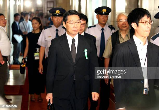 Kihei Maekawa a former administrative vice education minister arrives at a Lower House committee session hearing on July 10 2017 in Tokyo Japan