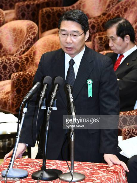 Kihei Maekawa a former top bureaucrat at the education ministry speaks at a House of Representatives committee meeting in Tokyo on July 10 to testify...