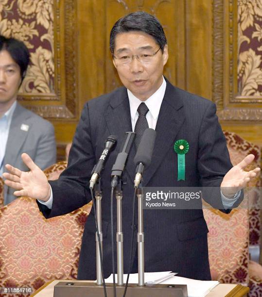 Kihei Maekawa a former top bureaucrat at the education ministry speaks at a House of Councillors committee meeting in Tokyo on July 10 testifying as...