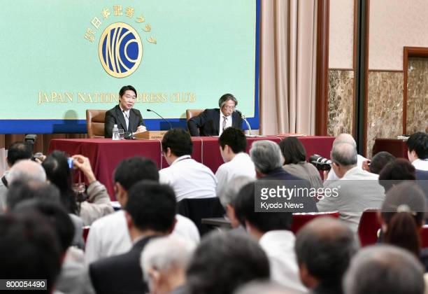 Kihei Maekawa former vice minister of education culture sports science and technology meets with reporters at the Japan National Press Club in Tokyo...