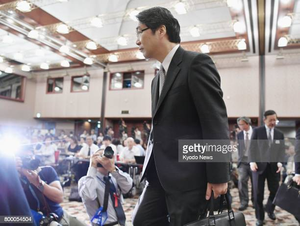 Kihei Maekawa former vice minister of education culture sports science and technology is ready to attend a press conference at Japan National Press...